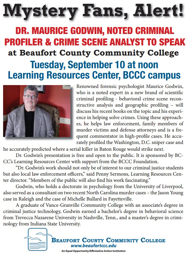 Renowned criminal profiler, crime scene analyst to speak at